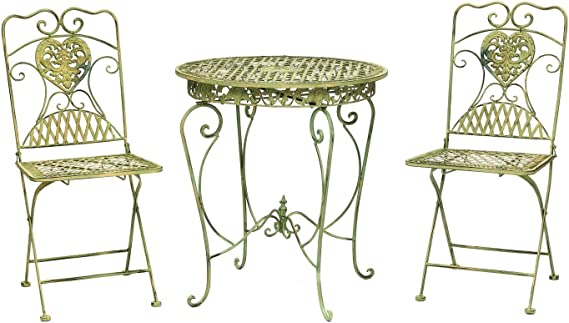 22.8D/×29.5H Sungmor French Rustic Shabby Style Wrought Iron Garden Table Matching Chairs Available Distressed Green Solid Metal Table Indoor Outdoor Garden Patio Bistro Decorative Furniture