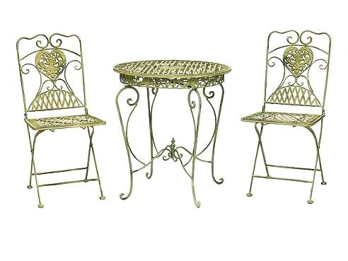 Gartenset Bistroset Gartentisch 2 Stühle Eisen Antik Stil Gartenmöbel Creme  Grün