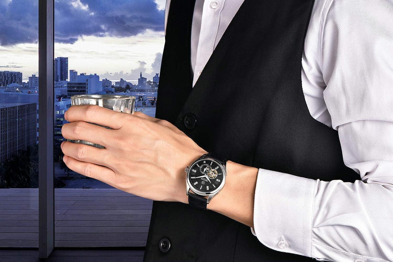 Smartklockor, mekanisk klocka för den modekostaliga vattentäta diamantockuperade vardagliga affärsklockor Rosskal svart bälte