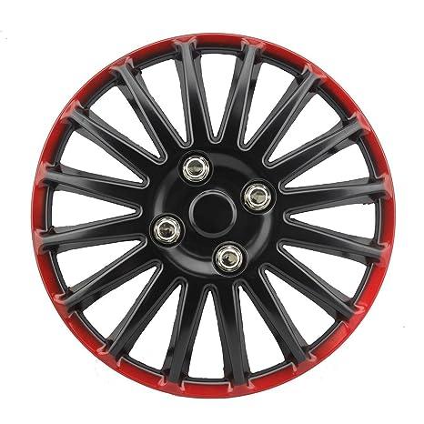 Tapacubos Tapacubos – Tapacubos 13 pulgadas de ABS Negro – Rojo