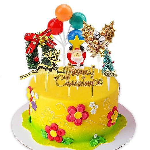 HOWAF 7 Estilo Navidad Cake Tarta Toppers Decoración, Brillo Feliz Navidad Pastel Cupcake Toppers Decoración para Navidad Fiesta Tarta Fondant ...