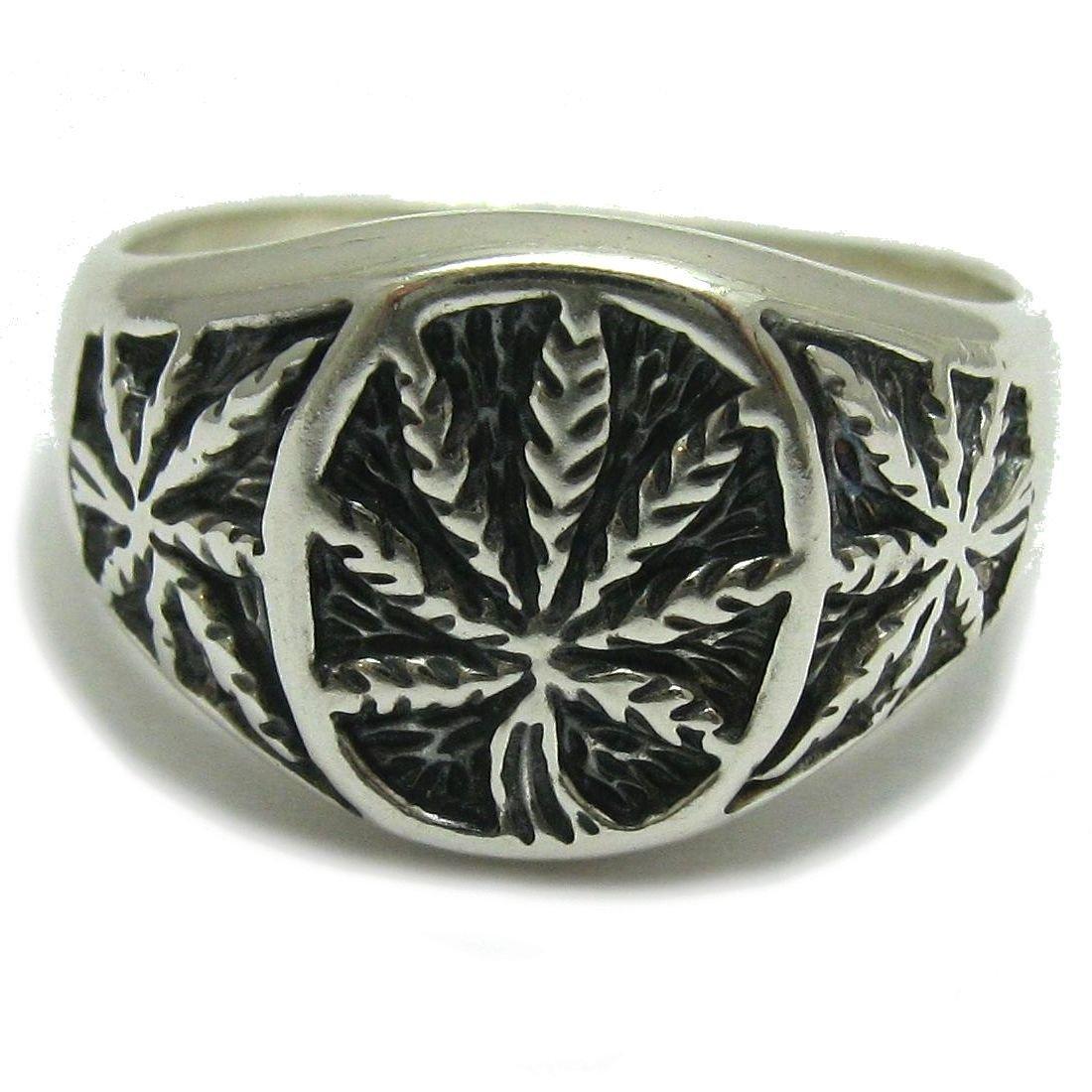 Bague en argent massif 925 Cannabis R001032