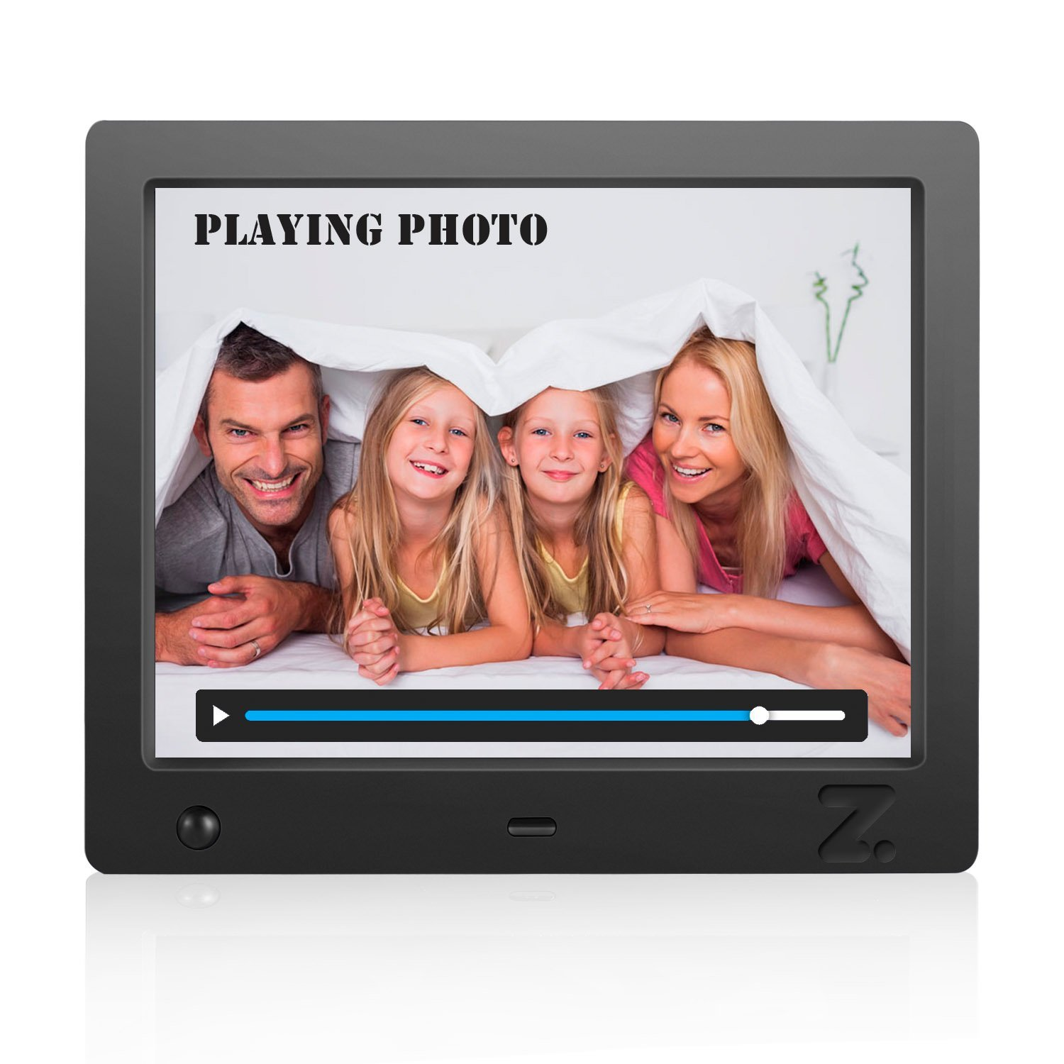 Musical Digital Photo Frame 8 inch, Picture Auto Play, HD Video 1080P (Black)