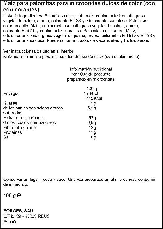Popitas Palomitas Dulces de Colores para Microondas - 100 g: Amazon.es: Amazon Pantry