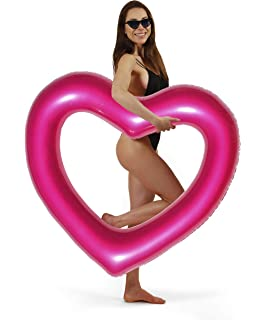 JCT Inflatable Pool Floats Pink Heart Inflatable Floats Crystal Sequins Love Water Swimming Ring Summer Beach Pool Party Toys for Adults Kids Girls 90cm, Pink