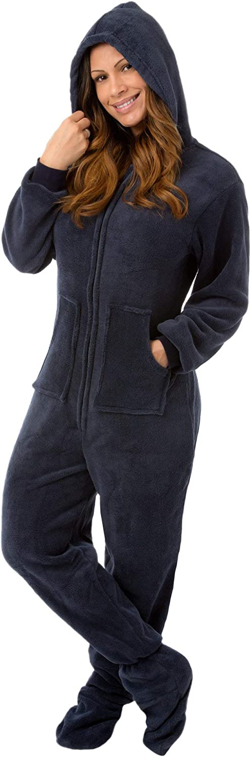 Navy Blue Hooded Plush Footed Pajamas Onesie with Drop Seat for Men & Women