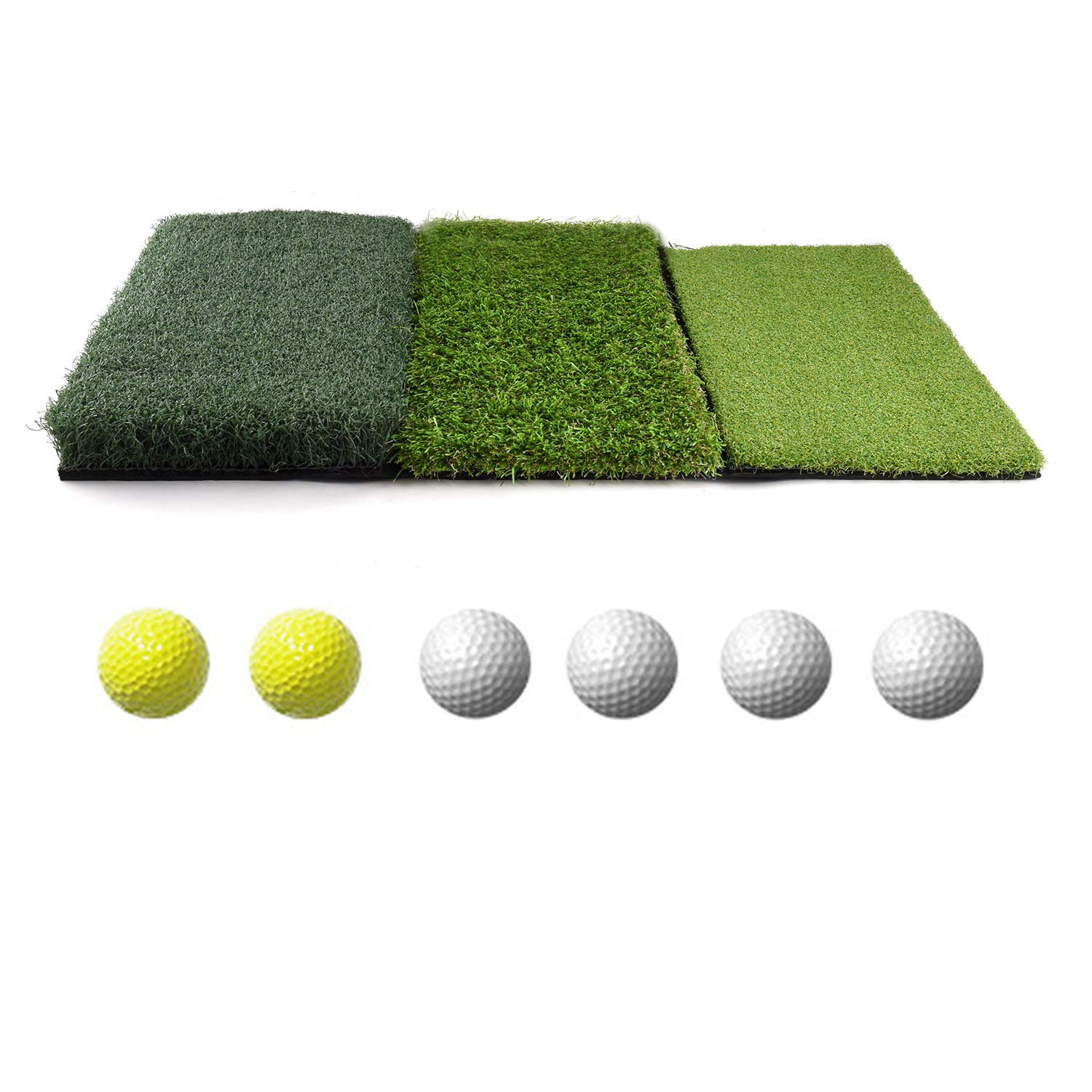 WhiteFang Golf 3-in-1 Turf Grass Mat Includes Tight Lie, Rough and Fairway for Driving, Chipping, and Putting Golf Practice and Training - 25x16in