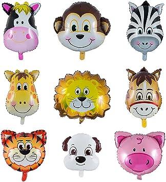 Folienballon Set 2 X Leopard Tiger Tiere Luftballon Heliumballon Kindergeburtsta