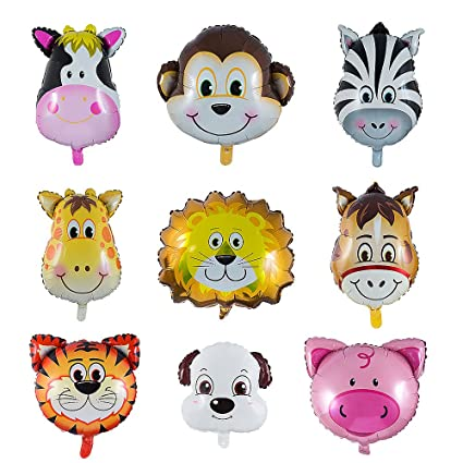 Vordas 9 Stück Folienballon Tiere Luftballons Tiere Kindergeburtstag Helium Ist Erlaubt Perfekt Für Kinder Geburtstag Party Dekoration Größe