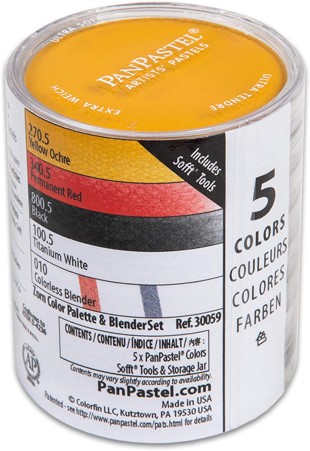 PanPastel 30059 Zorn Colors & Blender 5 Color Ultra Soft Artist Pastel Set w/Sofft Tools