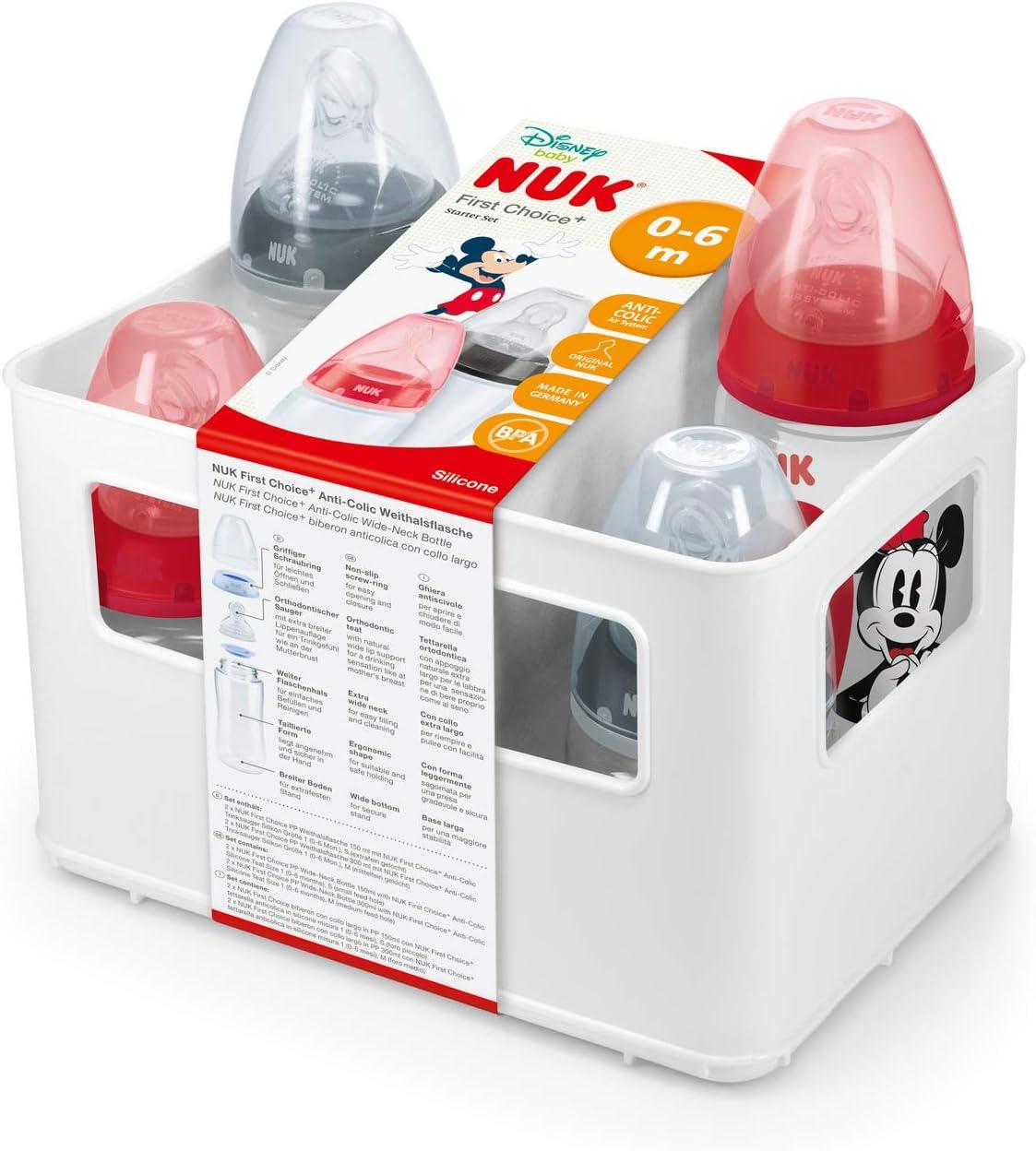 sans BPA NUK First Choice+ Starter Set Lot de biberons 0-6/mois c/œur | 5/unit/és anti-colique 4/biberons avec contr/ôle de la temp/érature et un casier /à biberons blanc