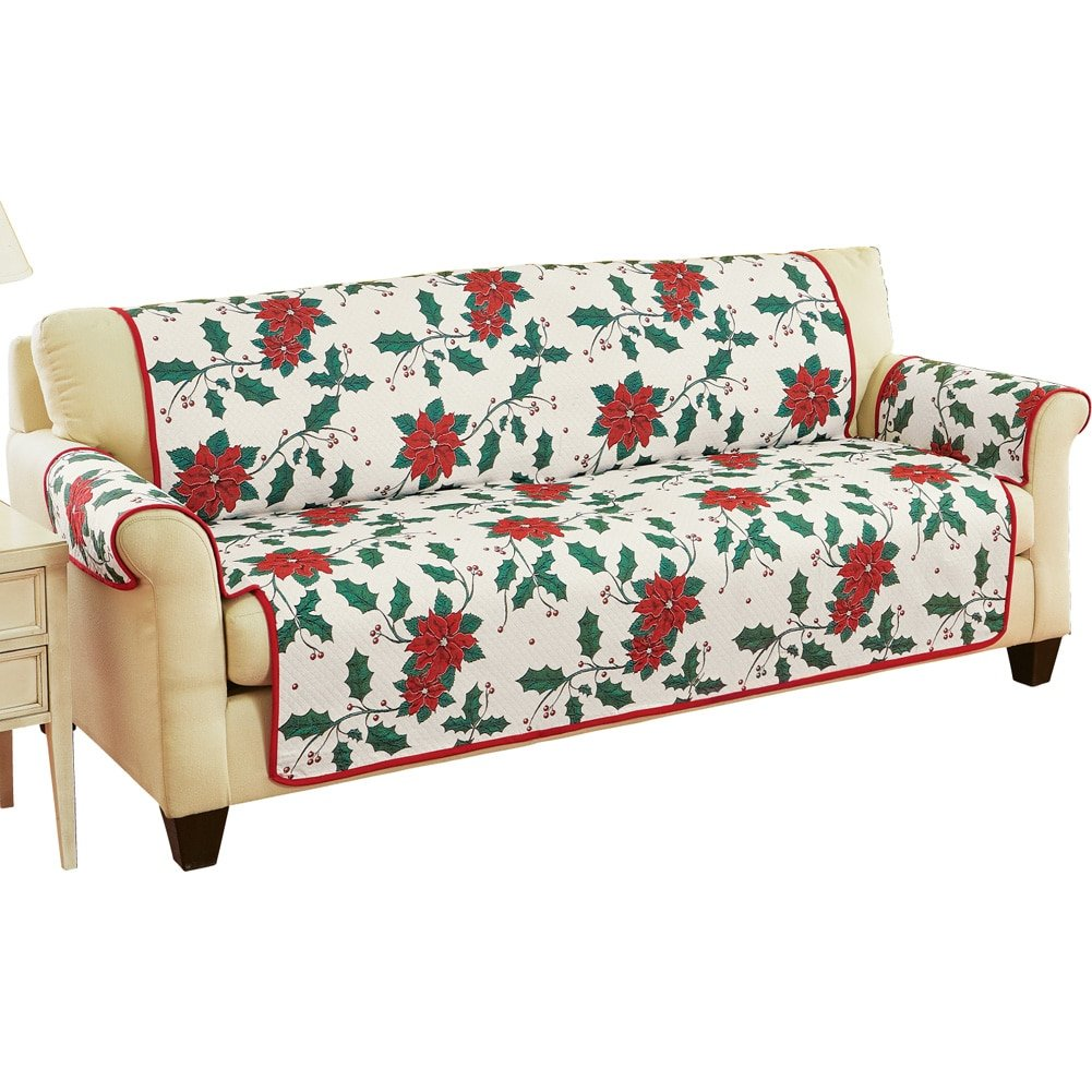 Holiday Poinsettia Tapestry Furniture Protector Cover, Sofa