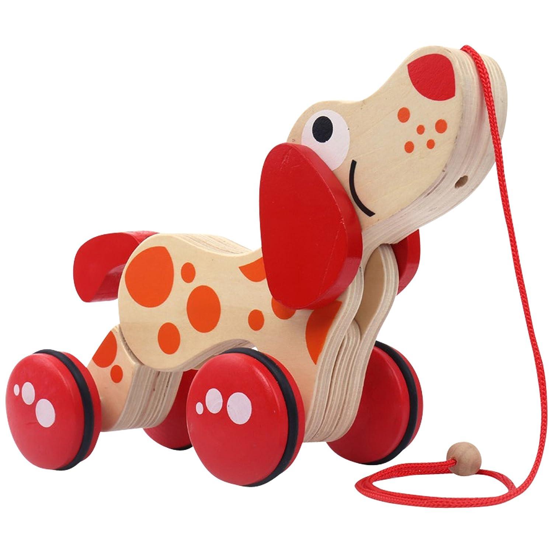 Natureich Dackel – Nachziehspielzeug aus Holz / Holztier Nachziehtier Hund für Kinder ab 36 Monate (Dackel) MM-1000