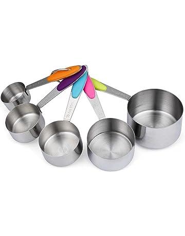 cymax Set de 5 tazas de medición cucharas medidoras de acero inoxidable con grabado Métrico medición