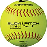 Champro Game ASA Slow Ptich .44 COR, 375 Compression, Poly Synthetic Cover, Red Stiches (Optic Yellow, 12-Inch), Pack of 12