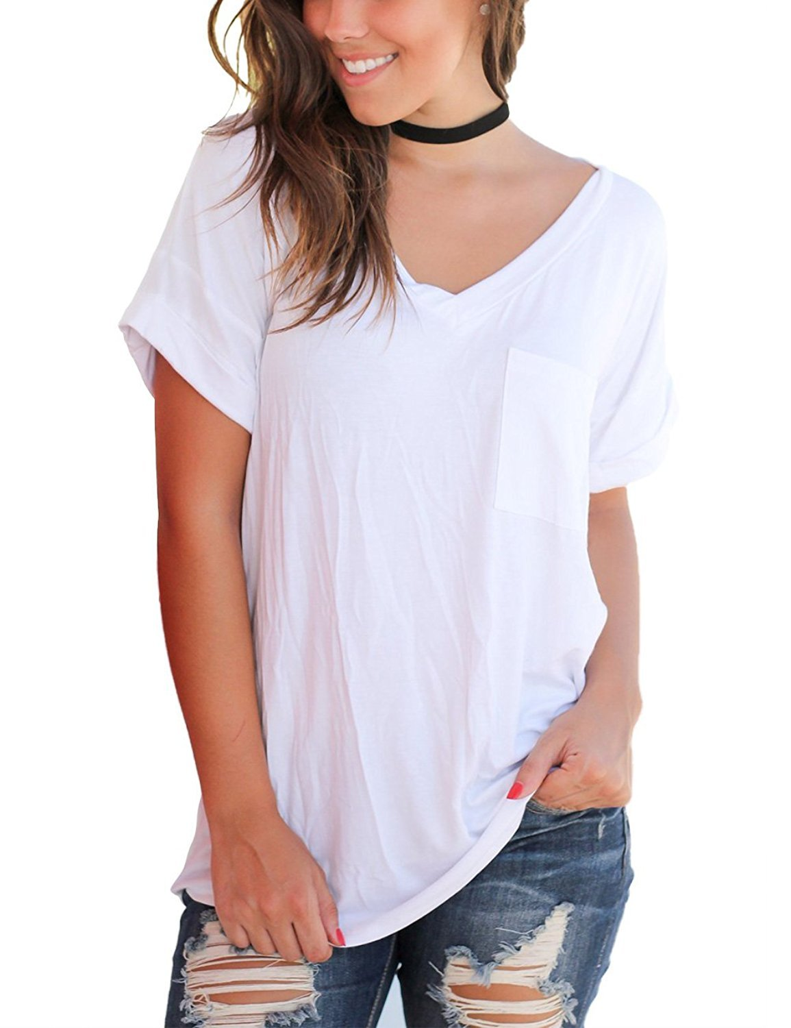 FAVALIVE Womens Tops Short Sleeve Cotton Tees Casual V Neck T Shirts Plus Size White XXL
