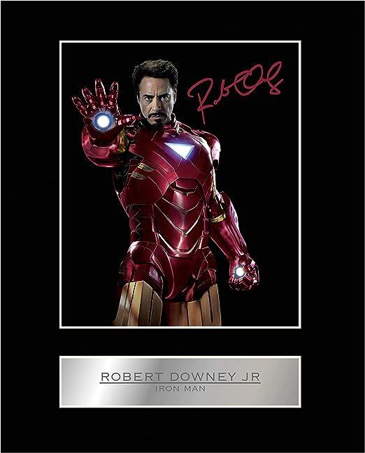 signiertes photo von robert downey jr iron man