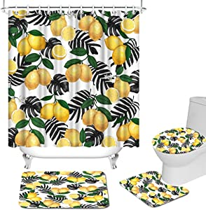 Yellow Lemon and Black Leaves Shower Curtain Set with Non-Slip Rug Toilet Lid Cover Bath Mat Vintage Fresh Fruits Bathroom Curtain Durable Waterproof Fabric Tropical Fruits Home Decor