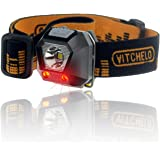 VITCHELO Ultralight Bright Waterproof Red LED Light Headlamps Flashlight, Best Small Hat Headlamp for Outdoor: Running, Jogging, Hiking, Camping, Fishing, Book Reading At Night