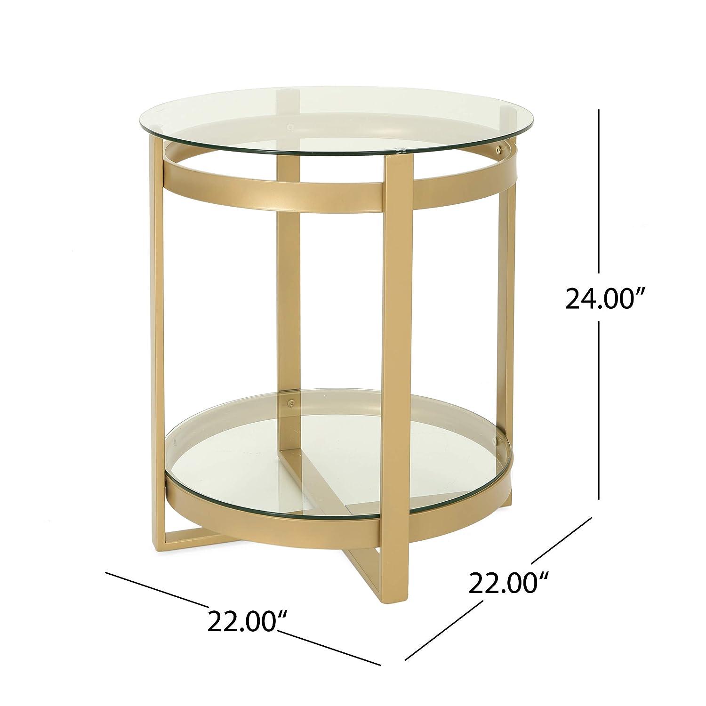 Charmant Amazon.com: Tate Tempered Glass Coffee Table | Round | Modern | Brass  Finish: Kitchen U0026 Dining