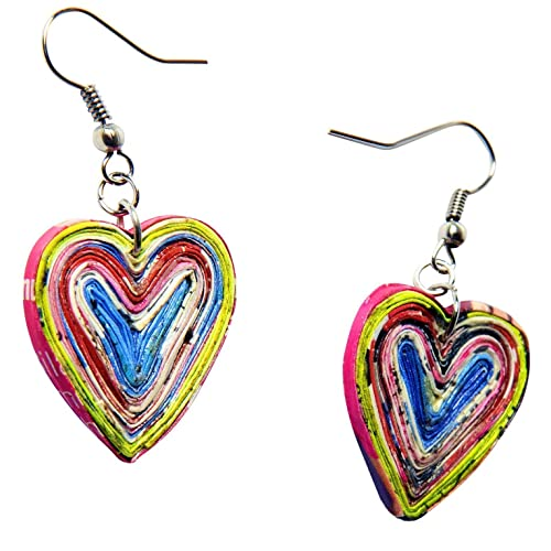 Earrings in Heart Shape Made of Magazine Paper Prime fun birthday valentines day gift for wife girlfriend mom daughter upcycled eco friendly boho art vegan bohemian gypsy ethnic from quilled jewelry