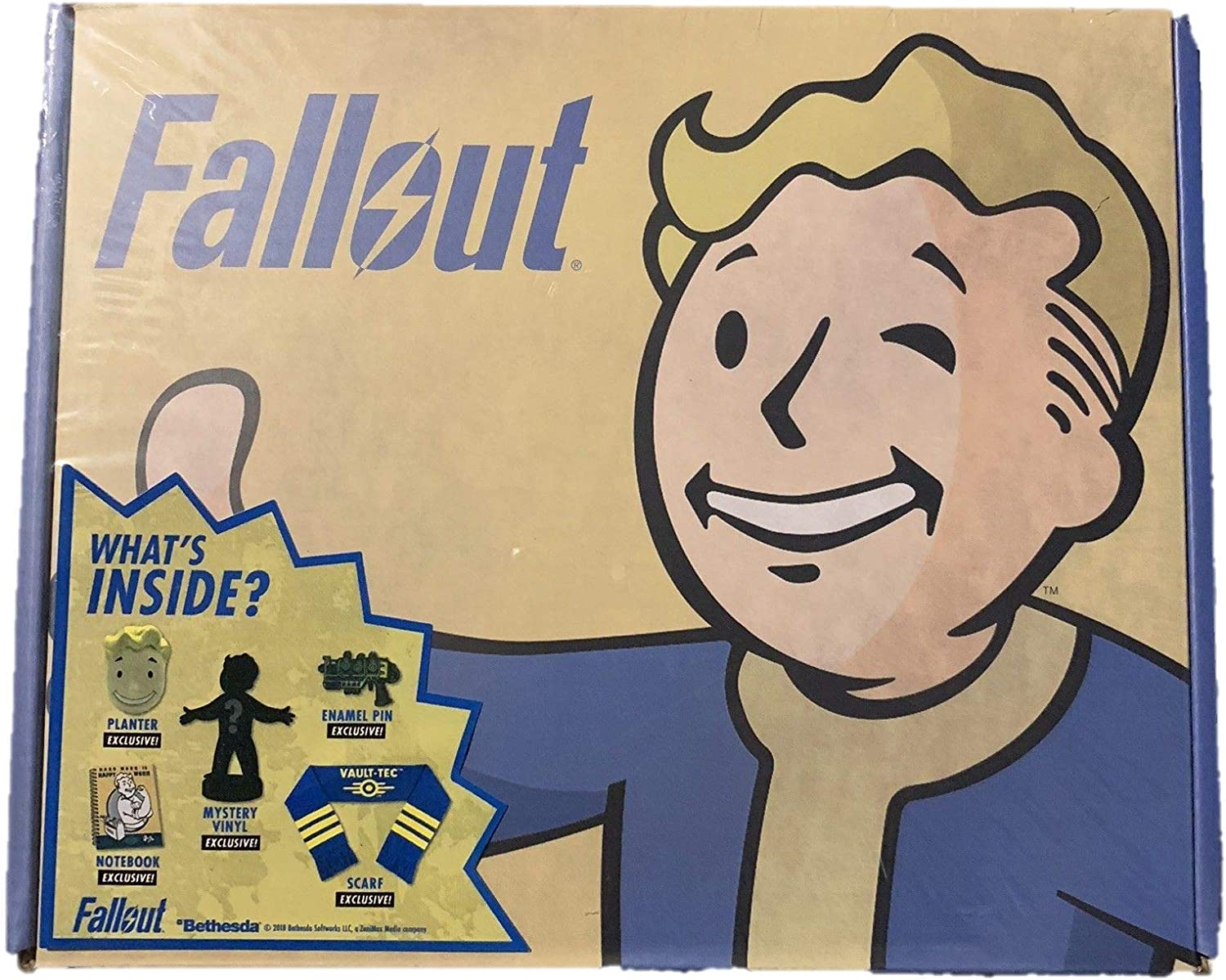 NOTEBOOK AND MYSTERY VINYL PLANTER FALLOUT BETHESDA LOOT BOX PIN SCARF