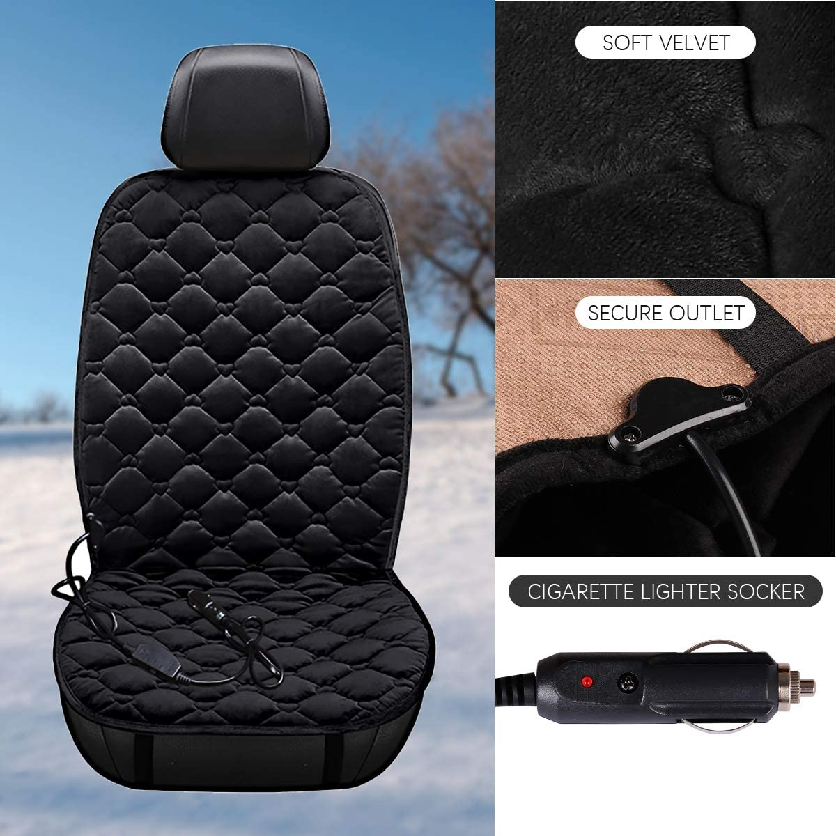 Bilisder Heated Car Seat Covers Warm Car Front Seat heated Cushions Heated Seat Pad 2 Level Temp Setting Universal 12V
