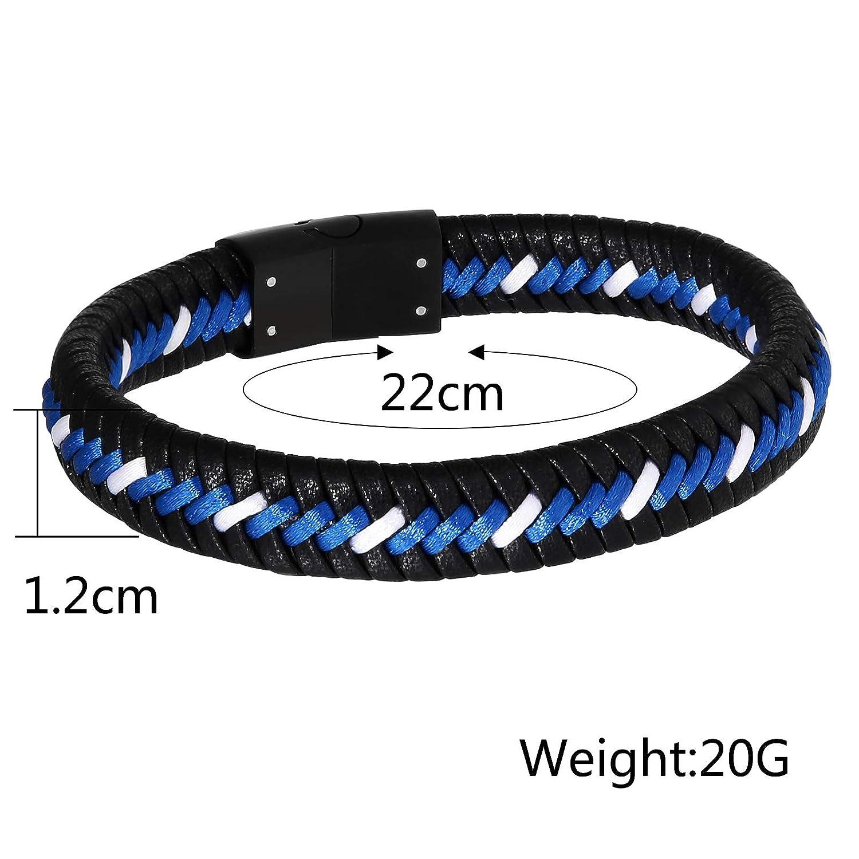 Gnzoe Men Bracelets Leather Black White Woven Leather Wristband Bangle Bracelets