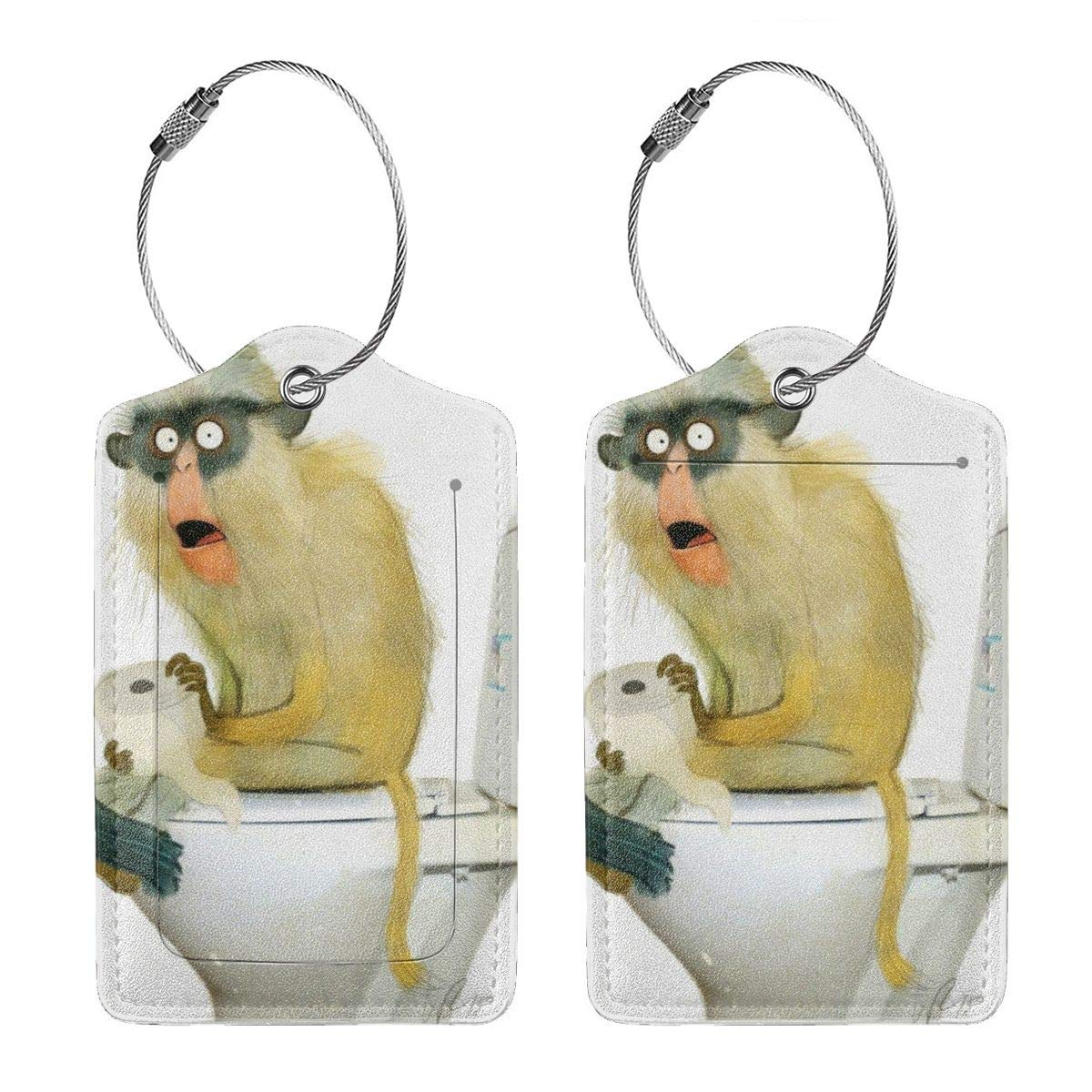 Funny Papio Monkey Sitting On The Toilet Luggage Tag Label Travel Bag Label With Privacy Cover Luggage Tag Leather Personalized Suitcase Tag Travel Accessories