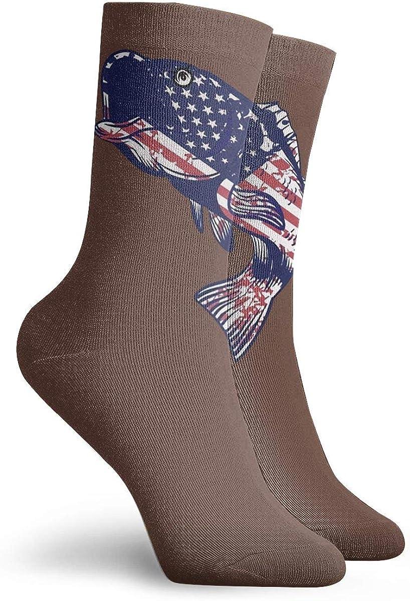 American Flag Fishing Socks Womens Comfort Crew Sock Mens Moisture Wicking Crew Sock