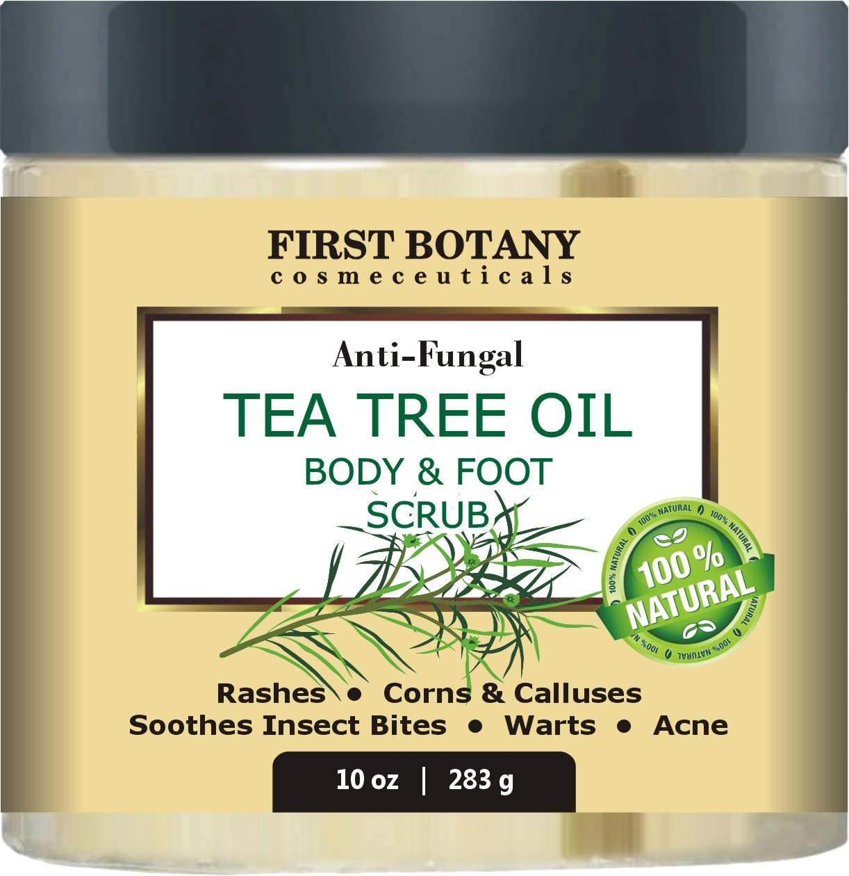 100% Natural Anti Fungal Tea Tree Oil Body & Foot Scrub with Dead Sea Salt - Best for Acne, Dandruff and Warts, Helps with Corns, Calluses, Athlete foot, Jock Itch & Body Odor by First Botany Cosmeceuticals
