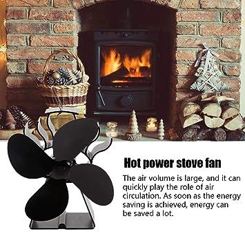 Ventilador de estufa silencioso de 4 palas accionado por calor ...
