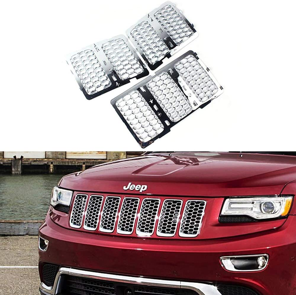 Danti Latest Honeycomb Matte Mesh Front Grill Grille Inserts Cover Kit 7 pc for Jeep Grand Cherokee 2014 2015 2016 Silver