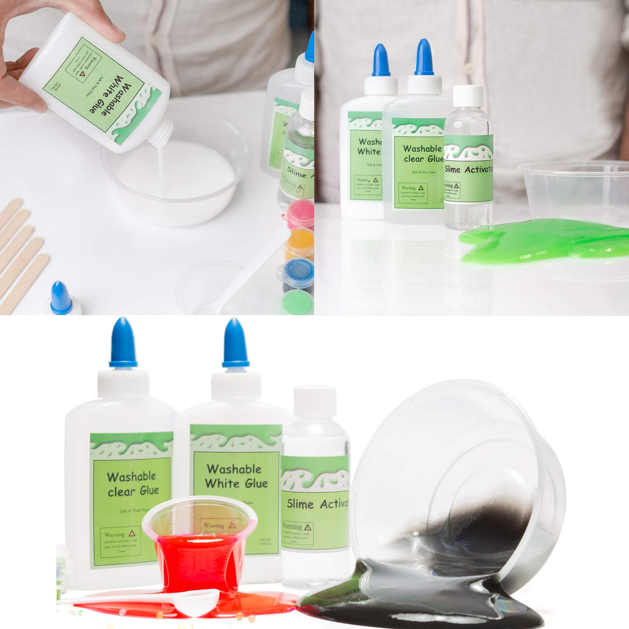 DIY Slime Kit -Learn how to make slime! Make Glow-In-The Dark, Clear, Neon and Glitter Slime - Perfect Gifting Option! Comes With Easy To Make Recipes! Super Slime Making Kit for Boys & Girls! by InStyleCraft (Image #3)