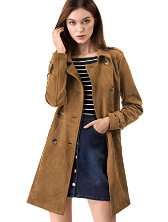 757ae27b793 Allegra K Women s Faux Suede Double Breasted Button Trench Coat Jacket with  Belt XS Brown