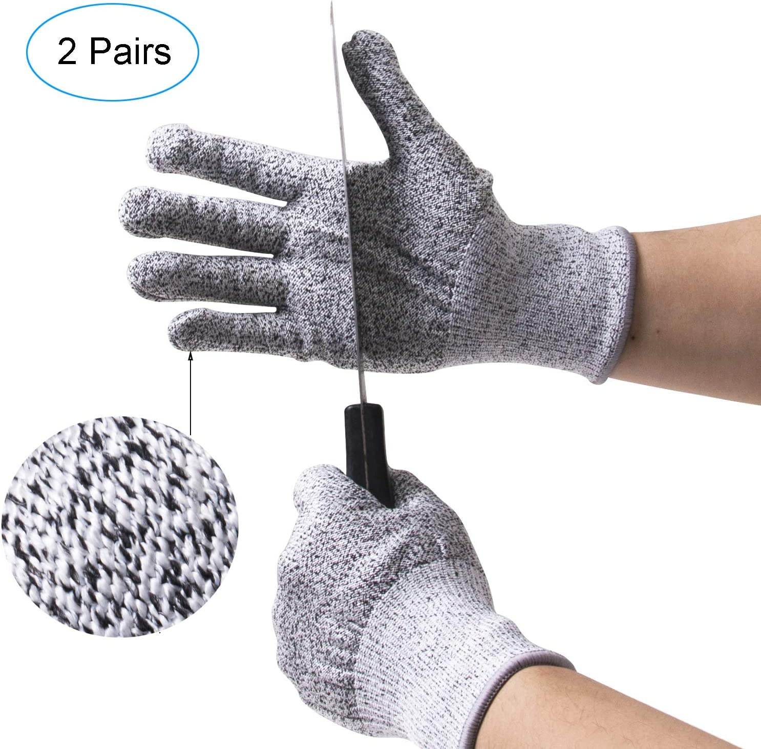 ThreeH 2 Pairs Cut Resistant Gloves Kitchen Woodworking Protective Gloves for Glass Handling Garden Yard Work GL19