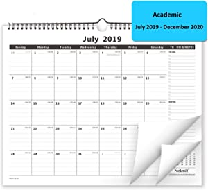 Nekmit 2019-2020 Academic Year Monthly Wall Calendar, 15 x 12 Inches, Wirebound, Black
