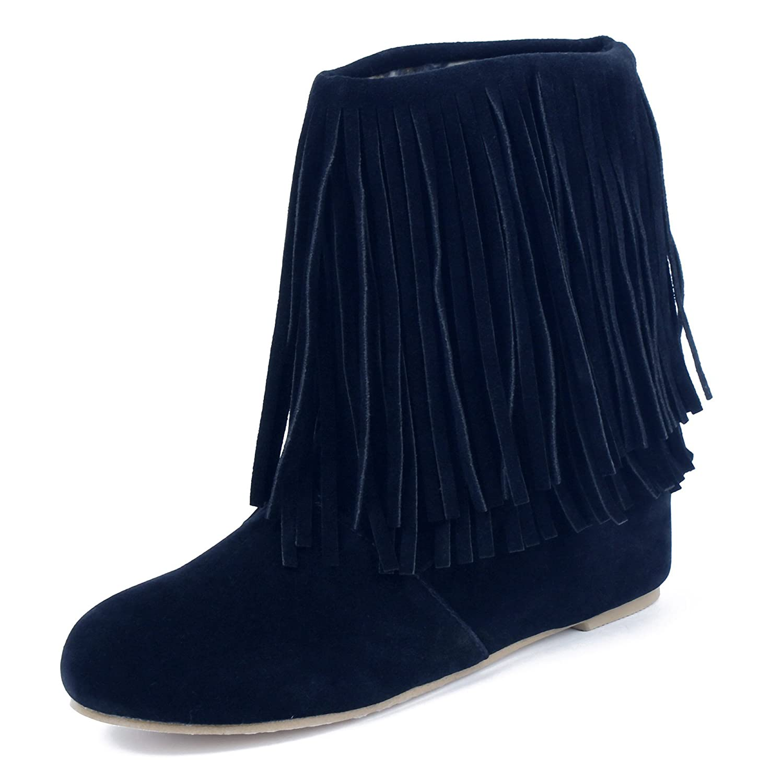 AgeeMi Shoes Damen Halbschaft Stiefel Slip On Ankle Flache Stiefeletten  38 EU|Schwarz