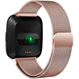 Fitbit Versa Bands for Women Men Quick Release, Yeefant Milanese Loop Classical Stainless Steel Metal Replacement Bracelet Strap with Unique Magnet Lock Accessories Wristbands for Fitbit Versa Fitness Smart Watch, Rose Gold-S