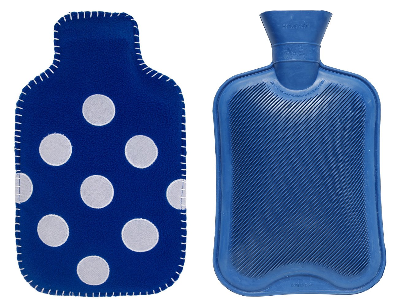CuddleMe 2-Liter Hot Water Bottle w/ Soft Fleece Cover, Natural Odorless Rubber Hottie Water Heating Bag for Pain Relief, Menstrual Cramps, Cold Winter Bed Warming (Blue w/ Polka Dots)