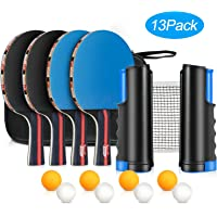 Fostoy Table Tennis Set, 4 Ping Pong Paddles with 8 Table Tennis Balls and Retractable Ping Pong Net, Ideal Indoor and Outdoor Ping Pong Sets, Perfect for Professional and Recreational Games