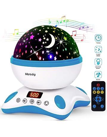 Moredig - Música lampara proyector estrellas 360 grados rotación con led pantalla, romántica luz de