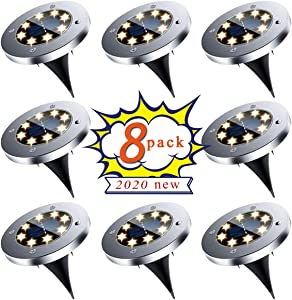 Solar Ground Lights, Upgraded Outdoor Garden Waterproof Bright in-Ground Lights for Lawn Pathway Yard Driveway, producing More Light with 8 LED Warm White Lights