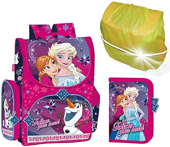 Disney Eiskönigin Frozen Schulranzen Mädchen 1 Klasse | Tornister Schulrucksack Schultasche | SET 4 teilig | für Grundschule
