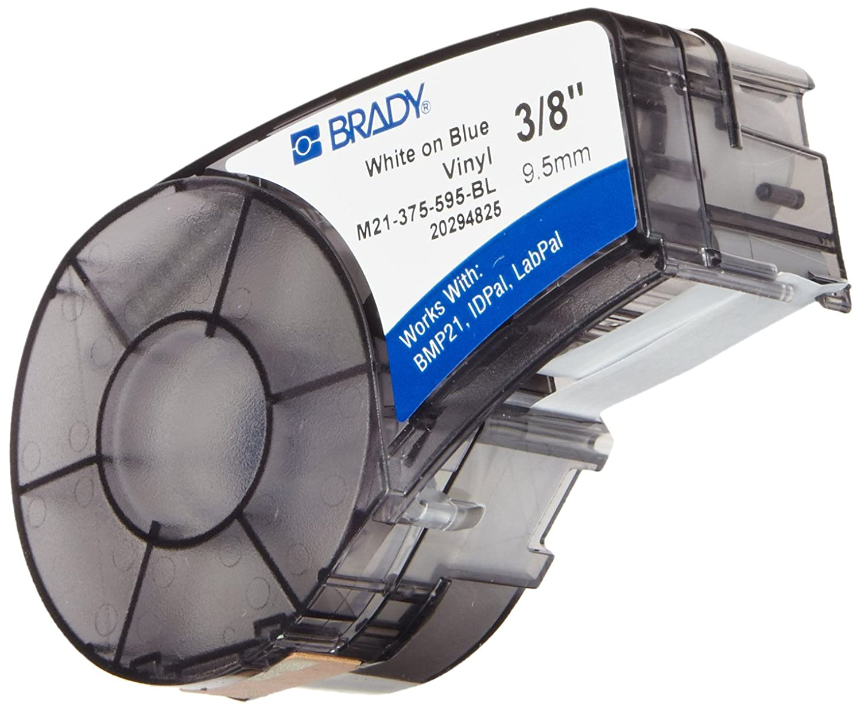 "B0063JLKR4 Brady M21-375-595-BL BMP21 Tape B- 595 Indoor/Outdoor Vinyl Film Size: 3/8"" x 21' WHT/BLU 71eIwDycUxL"