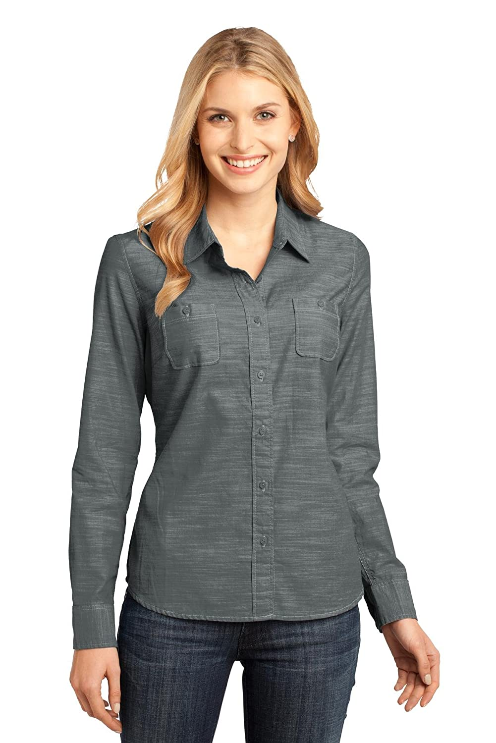 District Made Women's Long Sleeve Washed Woven Shirt