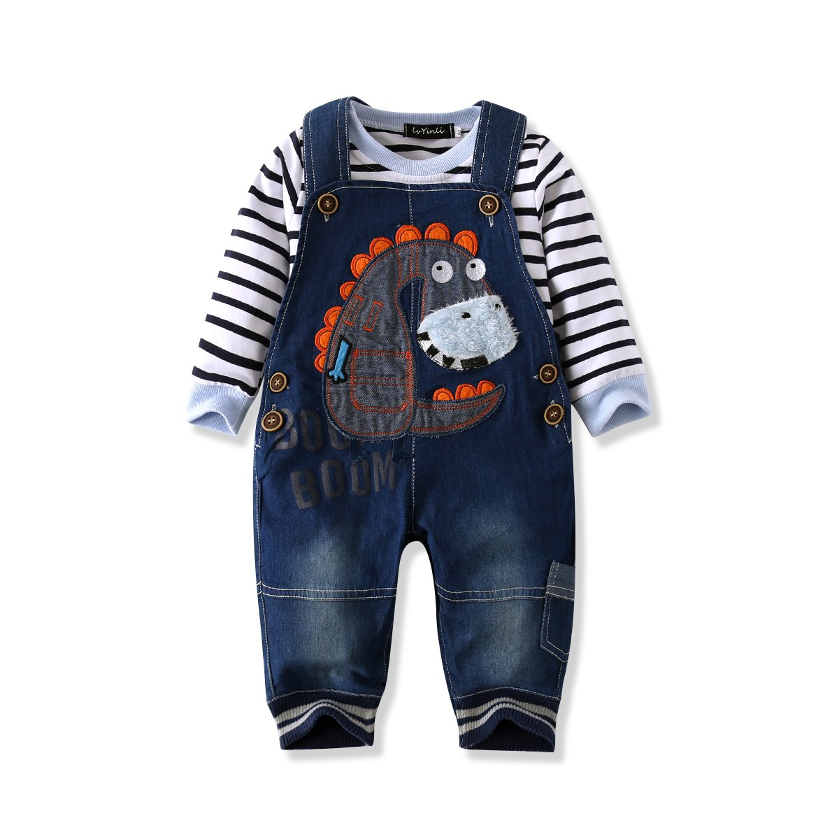 7f8a75ed LvYinLi US Baby Boy Clothes Boys\' Romper Jumpsuit Overalls Stripe Rompers  Sets Include: 1pc Jumpsuit Size:80(3-8 months)-90(8-14 months)-100(2years)