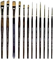 KINGART 1010F Finesse Kolinsky Sable Synthetic Blend Brushes, Black/Gold 12 Piece