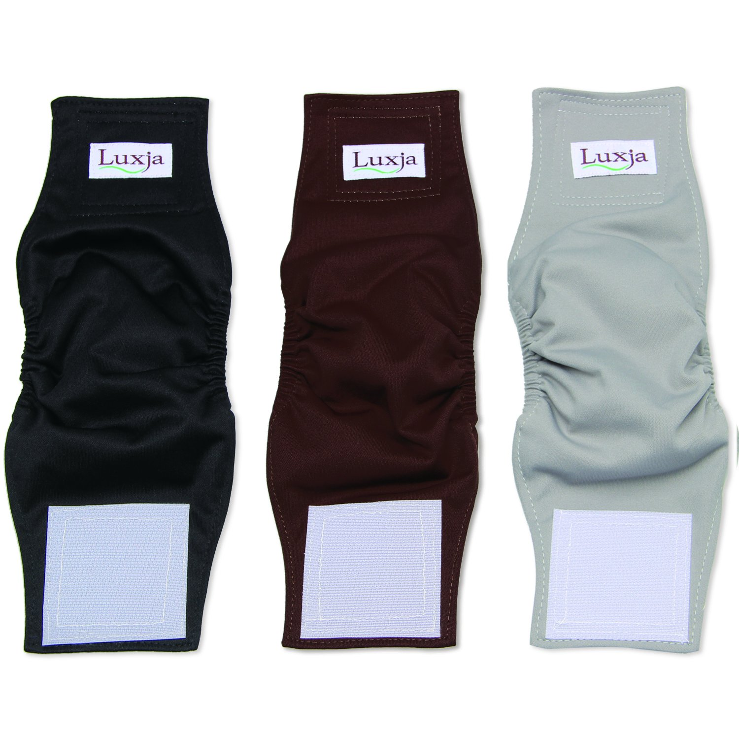 LUXJA Reusable Male Dog Diapers (Pack of 3), Washable Puppy Belly Band, Black+Gray+Coffee(Small)