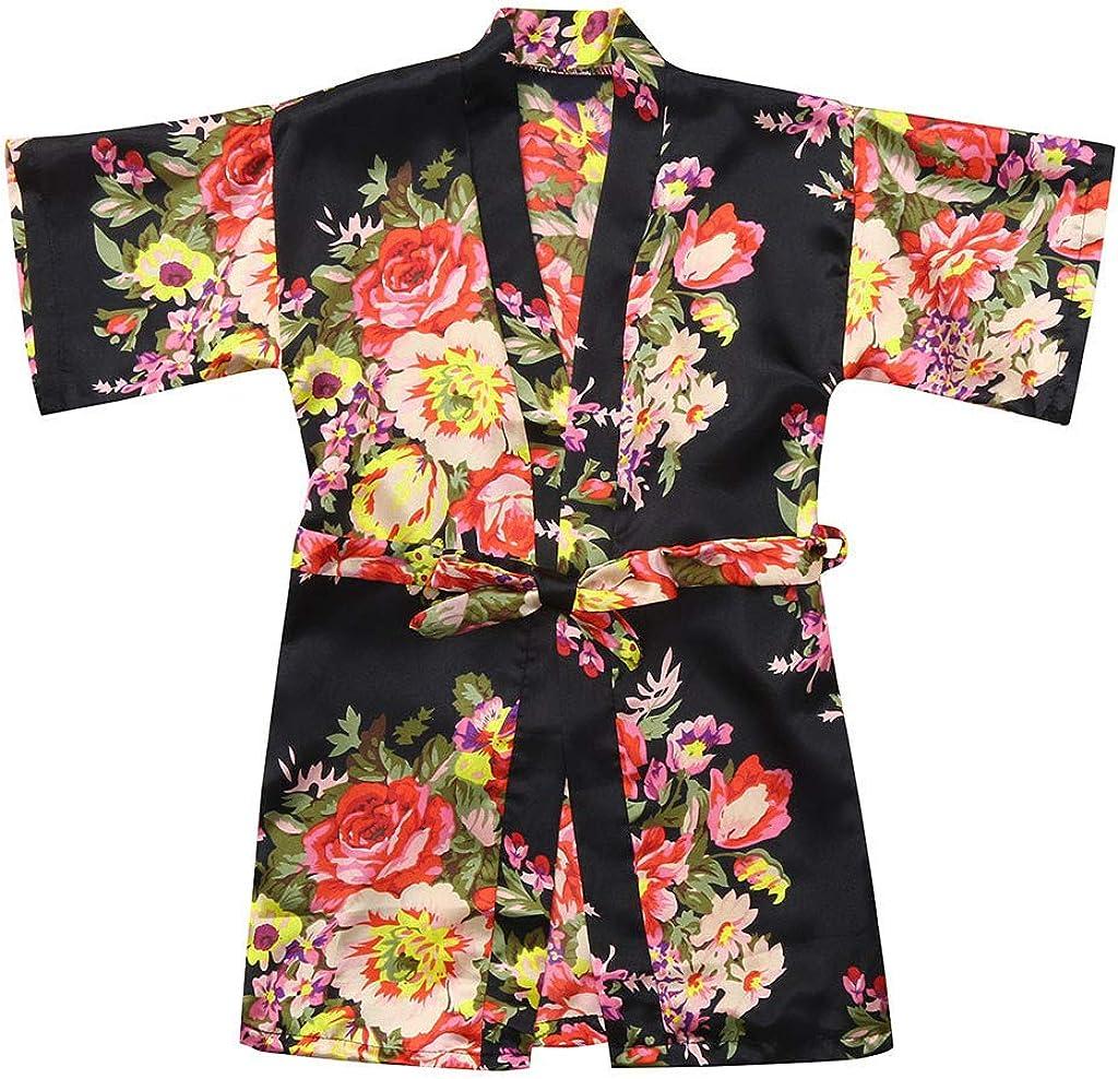 HANANei Baby Bathrobe Toddler Baby Kid Girls Floral Silk Satin Kimono Robes Sleepwear Clothes